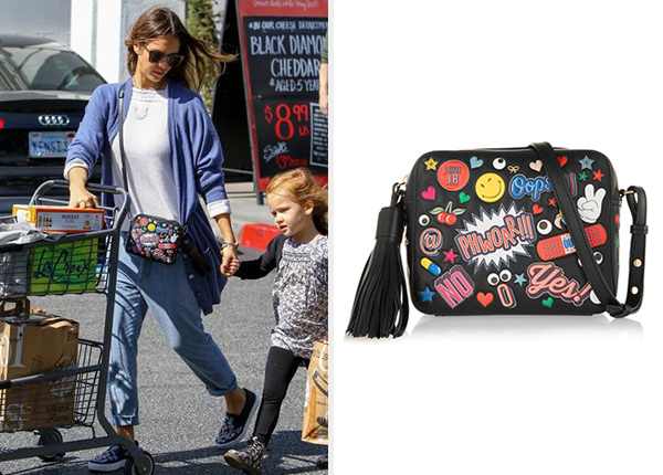 Anya Hindmarch All Over Stickers Shoulder Bag as seen on Jessica Alba
