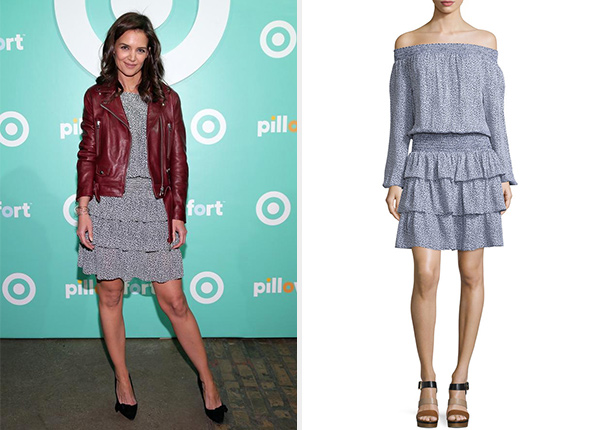 MICHAEL Michael Kors Sunari Off-Shoulder Ruffle Dress as seen on Katie Holmes