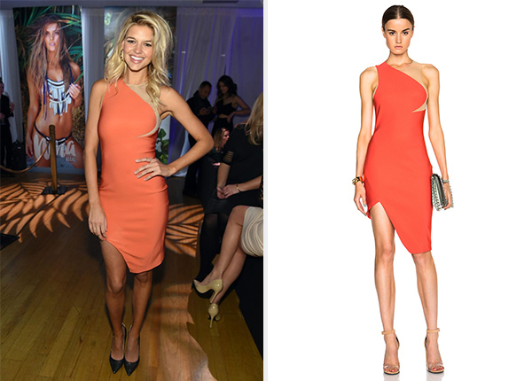 Mugler Mega Milano One Shoulder Dress as seen on Kelly Rohrbach