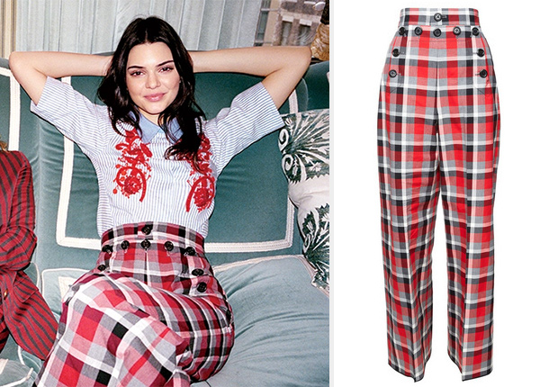 Marc Jacobs Collection Cotton Plaid Pants as seen on Kendall Jenner in Vogue April 2016