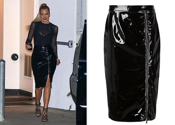 Christopher Kane Zipped Leather Pencil Skirt as seen on Khloe Kardashian