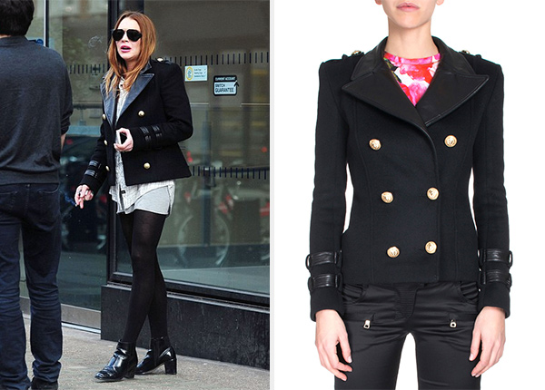 Balmain Leather-Collar Double-Breasted Jacket as seen on Lindsay Lohan