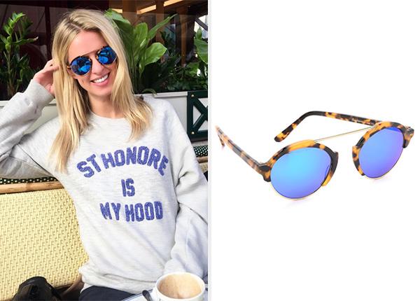 Illesteva Palm Beach Mirrored Sunglasses in Tortoise Blue as seen on Nicky Hilton