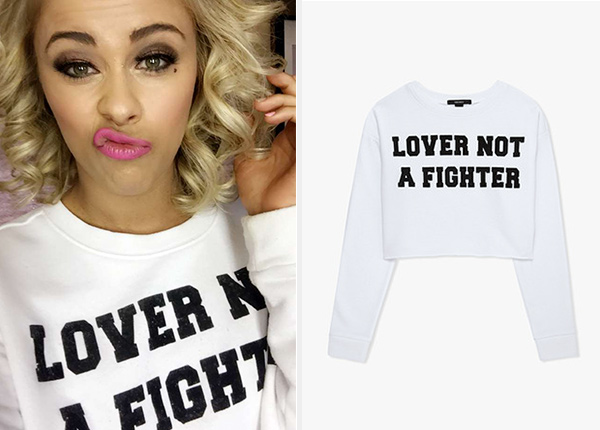 Forever 21 Lover Not A Fighter Crop Top as seen on Paige VanZant