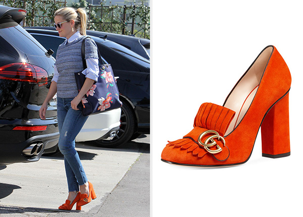 Reese Witherspoon S Gucci Marmont Fringe Suede Loafers