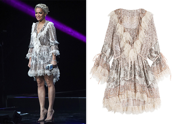 Etro Printed Silk And Lace Dress as seen on Rita Ora