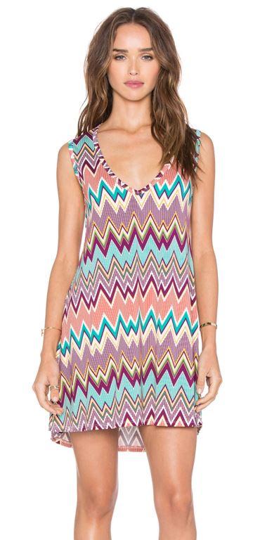 Michael Lauren Diamond V-neck Sleeveless Dress