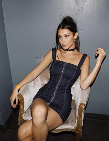 Reformation Rowena Denim Dress as seen on Bella Hadid