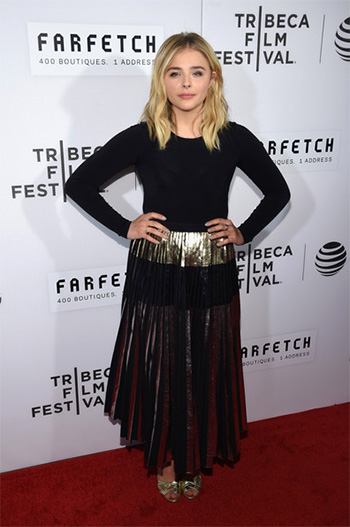 Proenza Schouler Multicolor Iridescent Pleated Skirt as seen on Chloe Grace Moretz