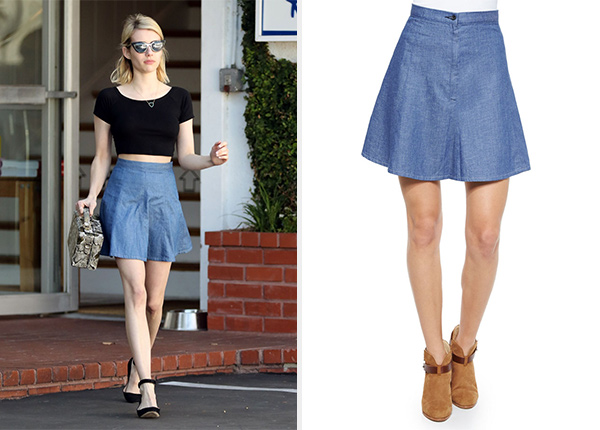 Rag & Bone/Jean Suki Denim A-line Skirt in Rinse as seen on Emma Roberts