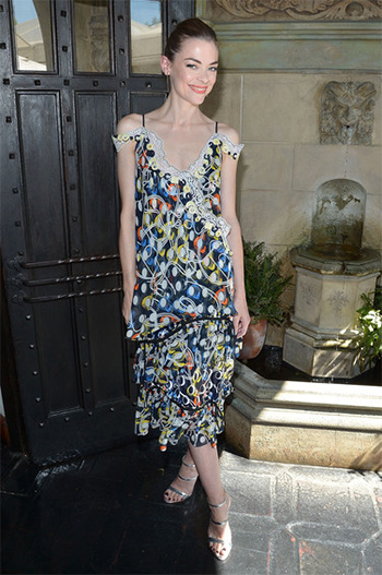 Peter Pilotto Off The Shoulder Print Dress as seen on Jaime King