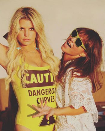 Moschino Yellow Caution One Piece yellow Swimsuit as seen on Jessica Simpson