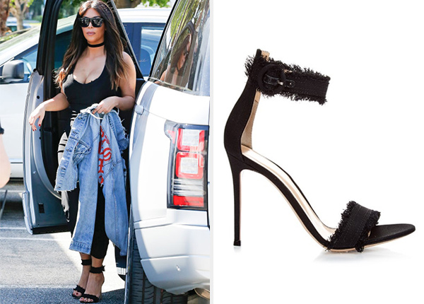 35ebe1e3b2229 Gianvito Rossi Denim Lola Ankle-Strap Sandals as seen on Kim Kardashian
