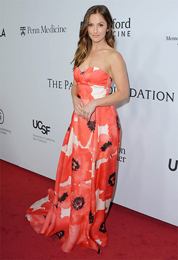 Lela Rose Strapless Oversized Floral-Print Gown as seen on Minka Kelly