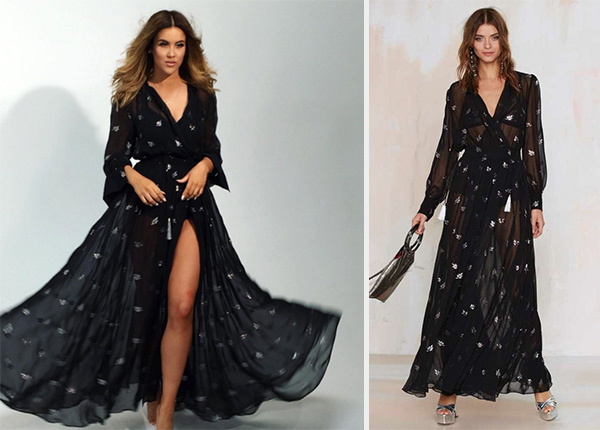 Nicole Guerriero In Nasty Gal Sheer Luck Maxi Dress