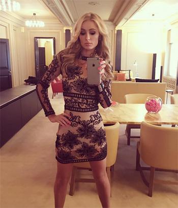 For Love & Lemons Desert Nights Embroidered Mesh Mini Dress as seen on Paris Hilton