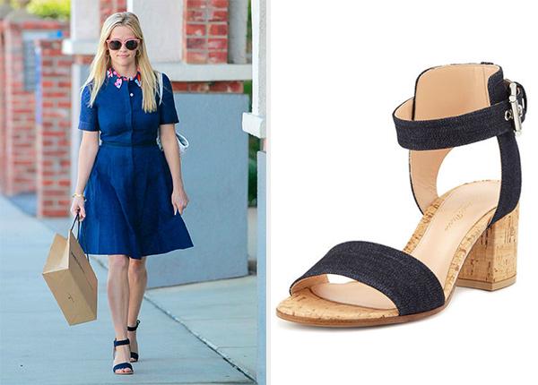 Gianvito Rossi Denim Cork Block-Heel Sandals as seen on Reese Witherspoon