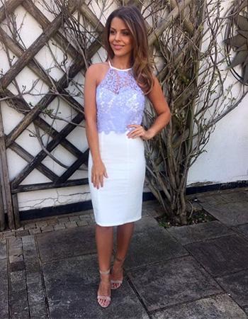 Chloe Lewis x Little Mistress Powder Blue and Cream Crochet Overlay Dress