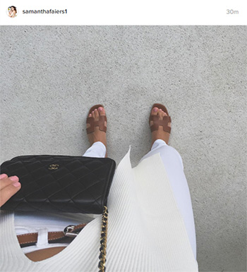 Hermes Oran Leather Sandals as seen on Sam Faiers