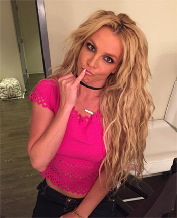 Bebe Rose Violet Crepe Laser Cut Top as seen on Britney Spears
