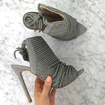 Missguided Rope Detail Peep Toe Grey Ankle Boots as seen on Carli Bybel Instagram
