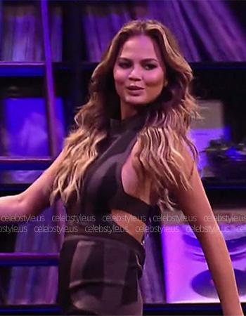 House of CB Rapha Grey And Black Halterneck Bandage Dress as seen on Chrissy Teigen on Lip Sync Battle 1x17