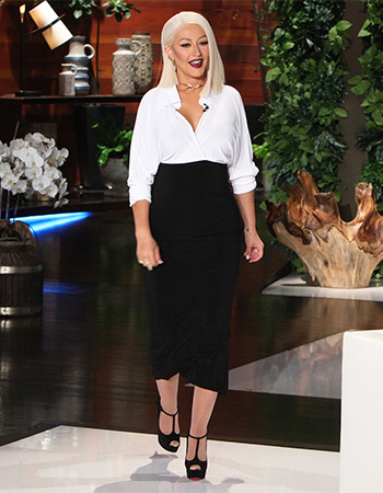 Christina Aguilera wearing Christian Louboutin Altapoppins T-Strap Platform Pumps on The Ellen Show, May 16, 2016
