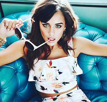 New Look White Floral Print Frill Crop Top as seen on Georgia May Foote for Select Model Management and Instagram