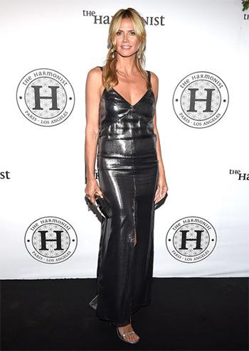 Saint Laurent Metallic Silk-blend Dress as seen on Heidi Klum at Cannes 2016