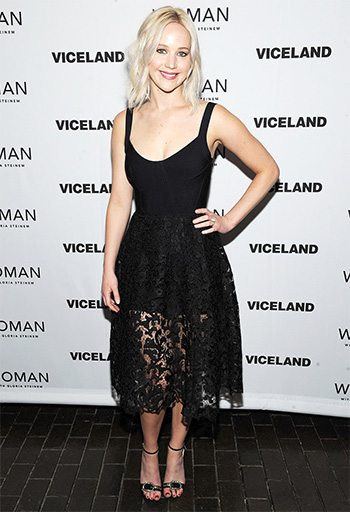 Jimmy Choo Suede Tamsyn Crystal Buckle Sandals as seen on Jennifer Lawrence at Woman screening