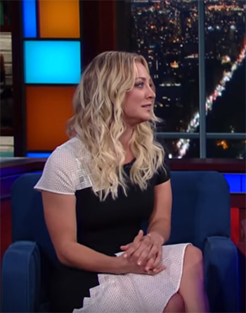 Jonathan Simkhai Diamond Mesh T-Shirt Dress as seen on Kaley Cuoco on The Late Show with Stephen Colbert