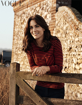 Petit Bateau Red and Blue Striped T-Shirt as seen on Kate Middleton for Vogue