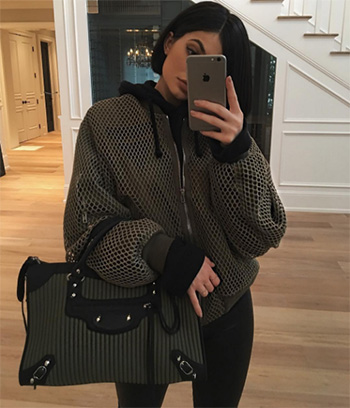 Alexander Wang Net Boyfriend Bomber Jacket as seen on Kylie Jenner Instagram