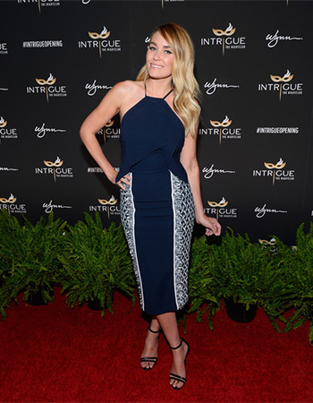 Roland Mouret Side Print Halterneck Dress as seen on Lauren Conrad at the Intrigue Nightclub Grand Opening at Wynn Las Vegas