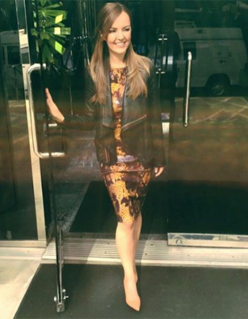McQ Amber Snake Long Bodycon Dress as seen on Nicole Lapin on Good Day LA