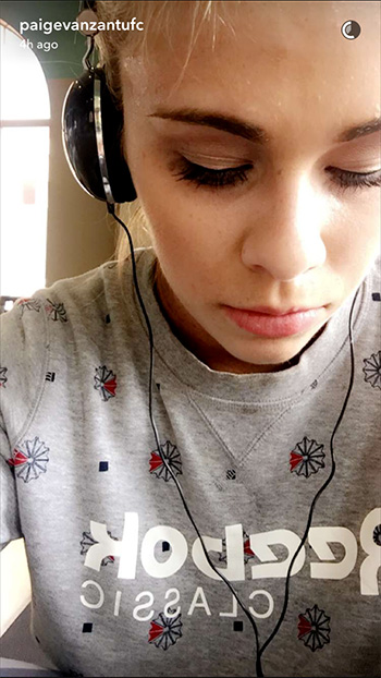 Reebok Classic Printed Crew Neck Sweater as seen on Paige VanZant Snapchat