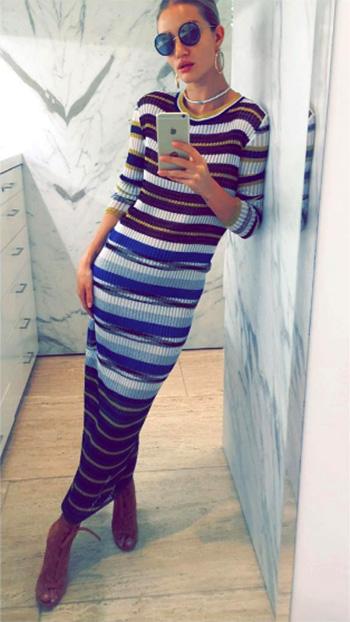 Missoni Metallic-Striped Crochet Maxi Dress as seen on Rosie Huntington-Whiteley Instagram