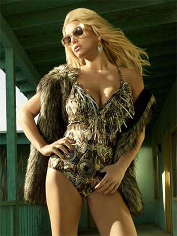 Jessica Simpson Feather Dancer Plunge Fringe Halter Maillot