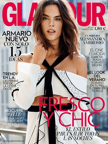 Alessandra Ambrosio in a Proenza Schouler Natte Halter Ruffled Crop Top on the cover of Glamour Spain, July 2016.