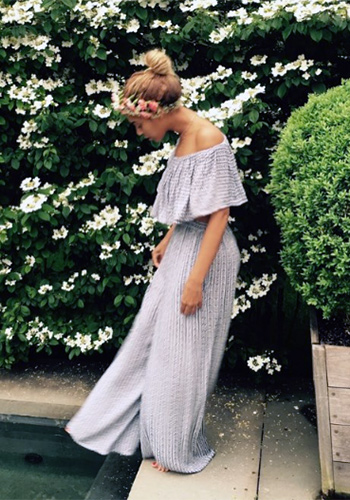 Mara Hoffman Pinwheel Cobalt Off Shoulder Ruffle Crop Top and matching Wide Leg Pants as seen on Beyonce's Instagram.
