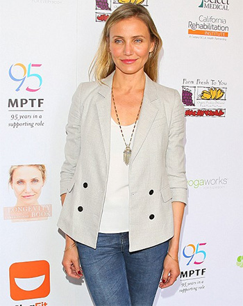 Cameron Diaz sports a House Of Harlow 1960 Golden Hour Fringe Pendant Necklace at the Motion Picture & Television Fund Celebration For Health And Fitness in Woodland Hills, CA on June 10, 2016.