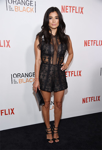 Orange is The New Black star Diane Guerrero wears a Alexis Milly Sleeveless Floral-embroidered A-line Dress to the season 4 premiere in NYC on June 16, 2016.