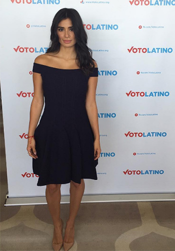 Jonathan Simkhai Pointelle Off The Shoulder Navy Dress as seen on Diane Guerrero Instagram, Vote Latino June 2016.