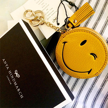 Anya Hindmarch Wink Coin Purse as seen on Kinsey Schofield Instagram.