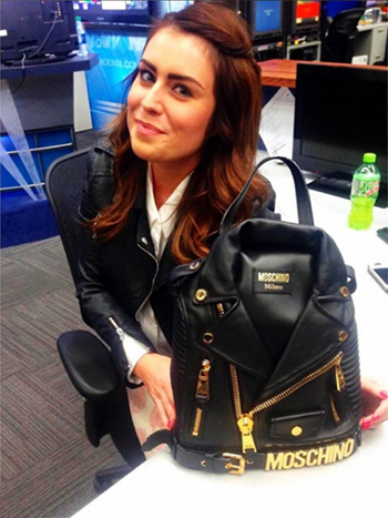 Moschino Biker Jacket Backpack as seen on Kinsey Schofield Instagram.