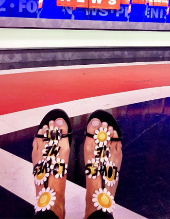 Valentino Love-Me Daisy Sandals as seen on Kinsey Schofield on FOX10 Phoenix