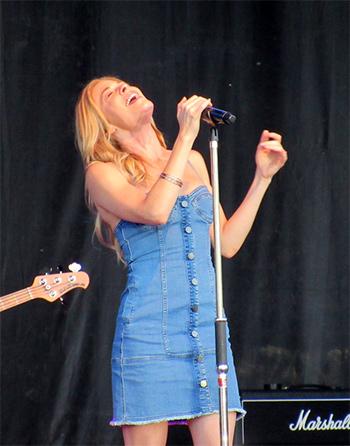 N Nicholas Blue Denim Button Up Bustier Dress as seen on LeAnn Rimes during concert, 2016.