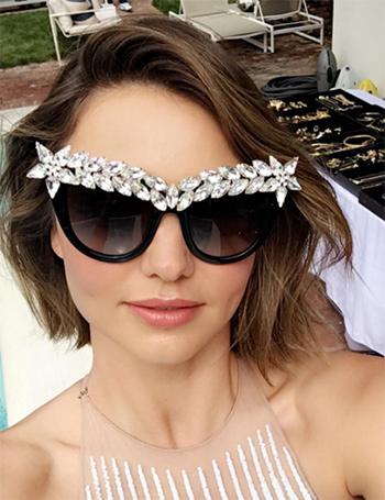 Anna-Karin Karlsson Decadence Crystal-Brow Sunglasses as seen on Miranda Kerr Instagram.
