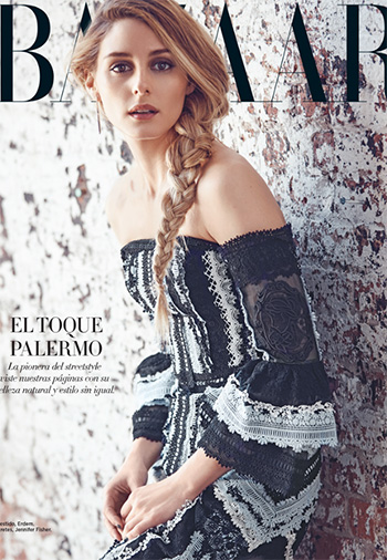 Olivia Palermo in Erdem Sissy Off-The-Shoulder Lace Dress for the cover of Harper's Bazaar 2016