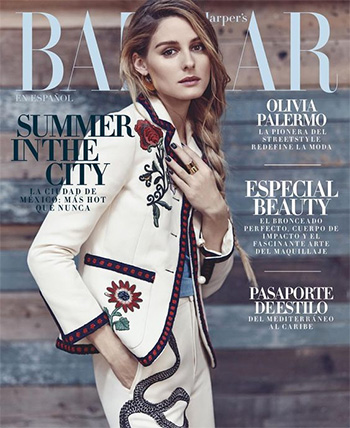 Gucci Embroidered Ankle Flare Pants as seen on Olivia Palermo for Harper's Bazaar 2016